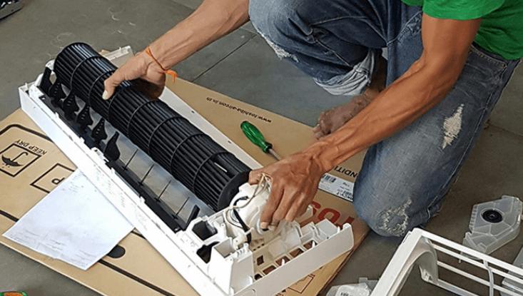 cara buka aircond rumah